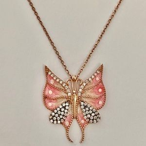 Jewelry - Handmade butterfly silver clear cz stones necklace